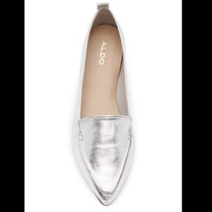 Aldo frantoto pointed toe flat silver